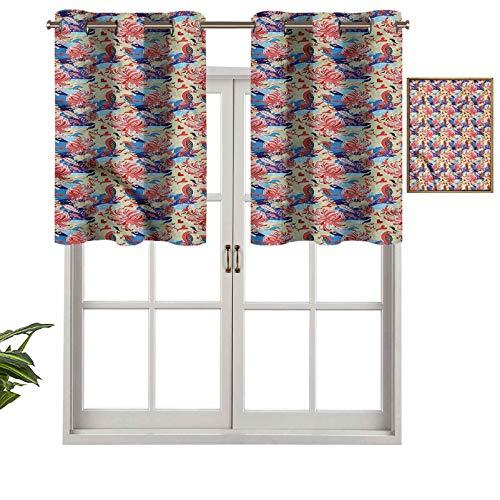 Hiiiman Cenefas opacas con aislamiento térmico y ojales cortos, para jardín artístico romántico, juego de 1, 127 x 45 cm para cocina y baño