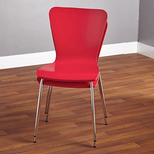 Simple Living Pisa Bentwood Stackable Dining Kitchen Chairs (Set of 2) (red)