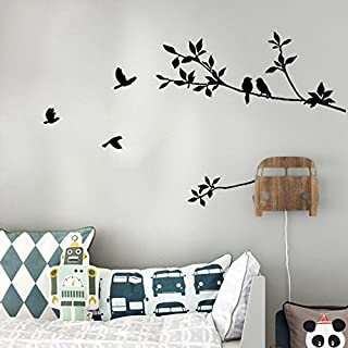 Bird Flowers Decals Wall Stickers TV Background,Elevin(TM) Wall Decals Stickers Removable Waterproof Self Adhesive Paper Mural Wall Art Wallpaper Home Room Decor