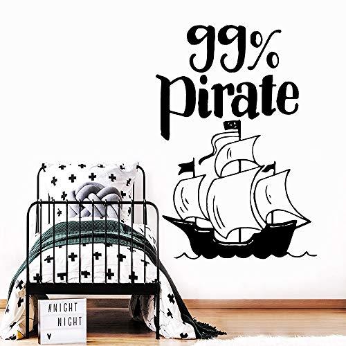 hetingyue Piratenschip muursticker vinyl decoratie woonkamer muurschildering kinderen slaapkamer creatieve decoratieve stickers