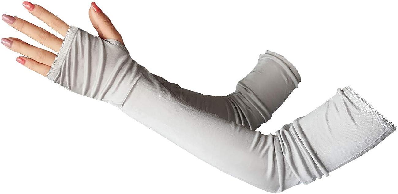 LingDooo Women Mens 100%Silk Gloves Arm Warmers Outdoor Sun Block Long Arm Sleeve Gloves Golf Cycling Driving