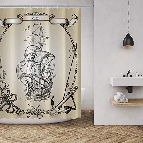 MuaToo Duschvorhang Old Caravel Vintage Pirat Segelboot Malerei Druck Wasserdicht Polyester Stoff Badezimmer Dekor Sets mit Haken 183 x 183 cm