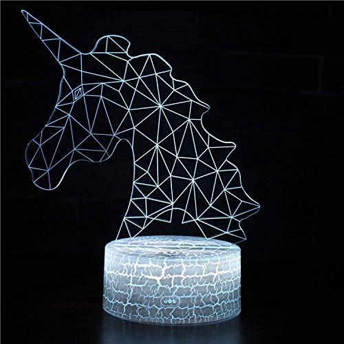 Luz nocturna 3D de unicornio para niños, lámpara de ilusión 3D, lámpara de noche de 16 colores de cambio de decoración, regalo de Navidad y cumpleaños para niños y niños
