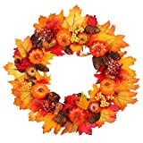 Fall Wreath, 18 inch Artificial Fall Wreath for Front Door, Christmas Wreaths with Pumpkins, Pinecone, Maple Leaf and Berry, Halloween Easter Wreath, Thanksgiving Day Indoor or Outdoor Decora (yellow)