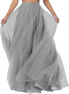 Special Bridal Gonna da Donna a Pieghe Lunghe in Tulle con Vita a Linea per Gonna da Cerimonia Nuziale