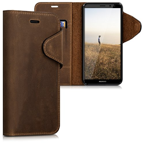 kalibri Hülle kompatibel mit Huawei Mate 10 Lite - Leder Handyhülle Handy Hülle Cover - Schutzhülle in Braun