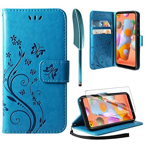 AROYI Cover Compatibile con Samsung Galaxy A11 e M11, Retro Design Flip Caso in PU Pelle Premium Portafoglio Slot per Schede Chiusura Magnetica Custodia Compatibile con Samsung Galaxy A11 e M11 Blu