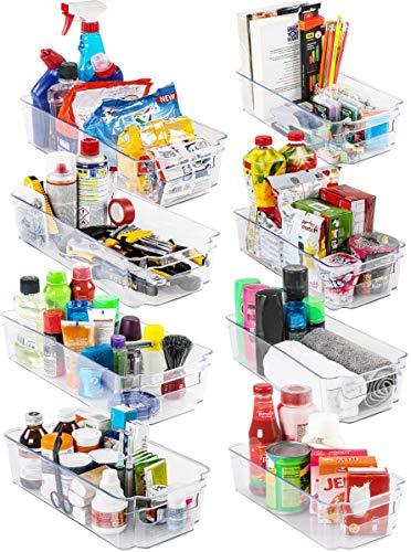 KICHLY Organizadores para la despensa - Juego de 8 (4 grandes, 4 pequeños) - Compartimentos de almacenamiento para la cocina, despensa, armarios, encimeras y refrigerador - sin BPA (Transparente)