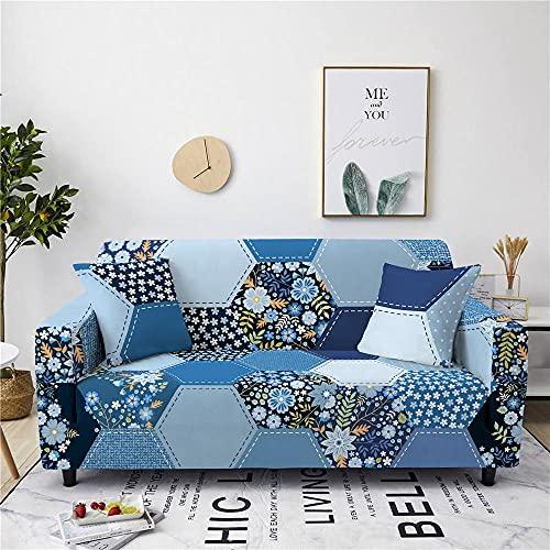 3 Plazas Funda de Sofá Elasticas Funda para Sofá Ajustables Antideslizante Flores Silvestres Azules Muebles Universal Protector de la Cubierta 190-230cm