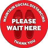 Social Distancing フロアデカール | 安全フロアサインマーカー | 6フィート距離のフロアステッカー | Please Wait Here Floor Graphic | 商用品質 滑り止め | 12インチ 丸型 | 10パック 12 inch