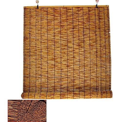 LMZJLU Cortinas de caña Natural, persianas Romanas Tejidas a Mano con carbonización Retro, Cortinas de bambú, Cortinas de Filtro de Sombra para Interiores, decoración de Paredes