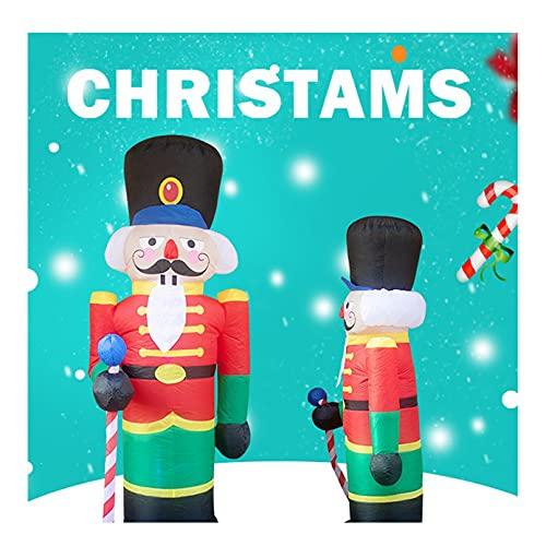 BABYDXY Decoraciones de Cascanueces Inflables Navideños, Soldado de Pie Iluminado con Bastón de Caramelo, Porche Interior al Aire Libre, Decoración de Fiesta en el Jardín