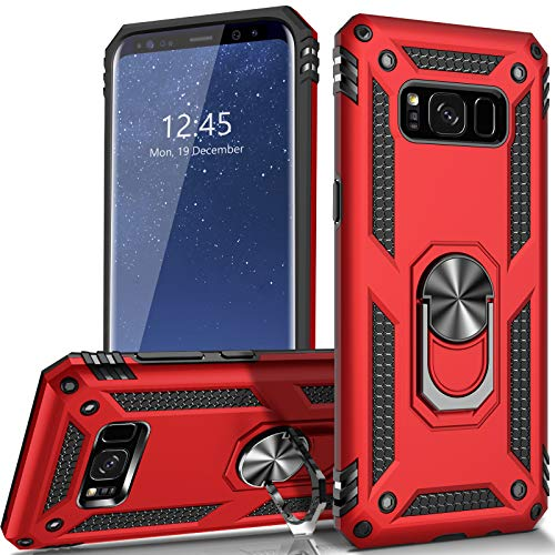 AUPAI for Galaxy S8 Case Heavy Duty 15ft Drop Tested Shockproof Cover with Magnetic Ring Kickstand Protective Phone Case for Samsung Galaxy S8 Red