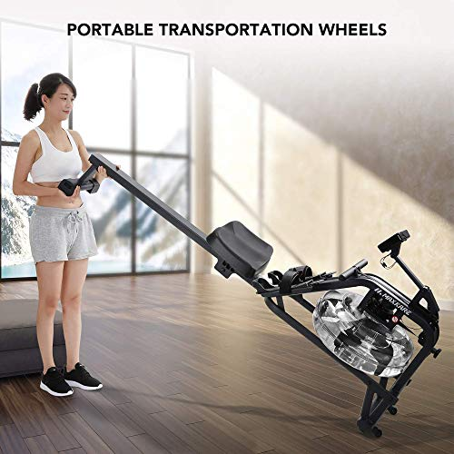 MaxKare Water Rowing Machine Water Rower with Water Resistance & Large LCD Display for Home Use