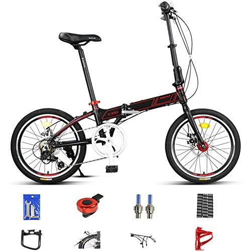 LXLTLB 20in Klapprad Variable Aluminiumlegierung Unisex Student Tragbar Folding Bike Mini Stoßdämpfung Faltrad,Schwarz
