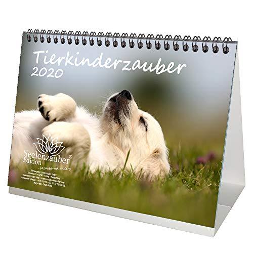 Set regalo per bambini con calendario da tavolo 2020, formato DIN A5, motivo: cuccioli di animali e bambini, con 1 biglietto di auguri e 1 biglietto di Natale