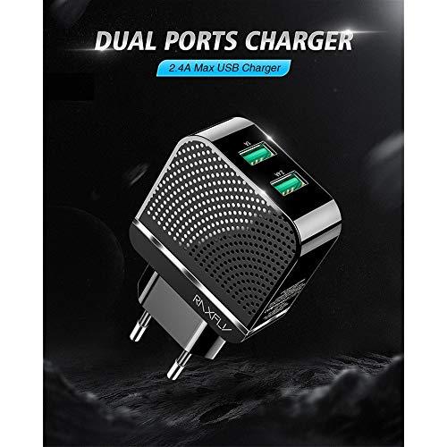Dual USB-lader stopcontact 5V 2.4Een snel opladen snelle koellader compatibel met telefoon X/8/7/6 Plus SE 5S 5C, Samsung, Moto, Huawei, Android-telefoons (zwart)