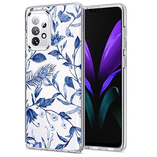 Yeriyerr Funda para Samsung Galaxy A32, ultrafina, transparente, flexible, de silicona TPU, antigolpes, antiarañazos, antigolpes, carcasa trasera [diseño de flores] para Samsung A32 (D)