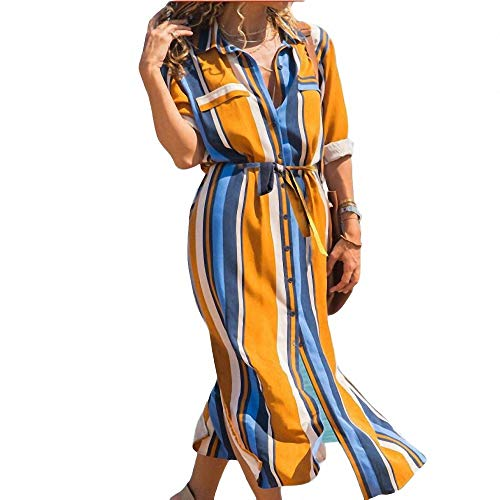 yuhualiyi123 Damen Kleid Mode sexy gestreiften Hemdkragen aufgeteilt