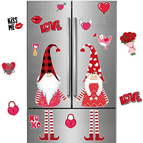 Juego de Imanes de Nevera de Gnomos de Pareja de San Valentín de 34 Piezas Imán de Refrigerador de Gnomo Romántico Pegatina Decorativa para Funda de Manijas de Electrodomésticos de Cocina