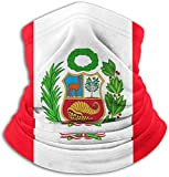 Peruvian Flag Face Mask Bandanas-Windproof Shield Scarf Neck Warmer Balaclava for Dust, Outdoors, Festivals, Sports Black