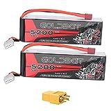 GOLDBAT RC Batería 3S 5200 50C 11.1V Paquete de batería Lipo con Conector Deans y Conector XT60 para helicóptero RC Avión RC Coche Avión Drone FPV Racing (2 Paquetes)