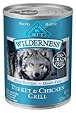 Blue Buffalo Wilderness High Protein Grain Free, Natural Adult Wet Dog Food, Turkey & Chicken Grill 12.5-oz cans (Pack of 12)
