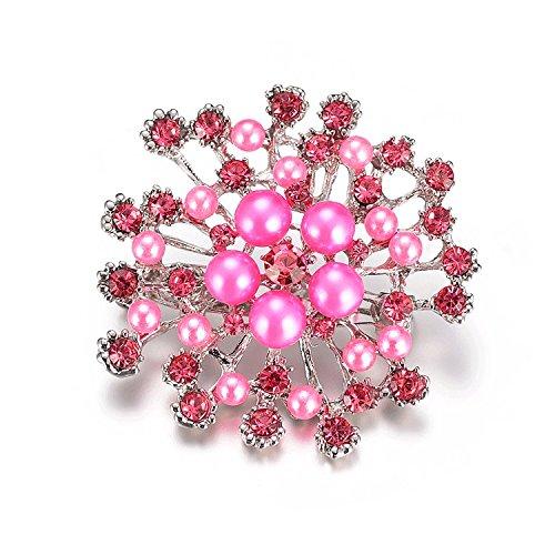 JJZHY Broche de Cristal de Perla de Copo de Nieve para Regalo...