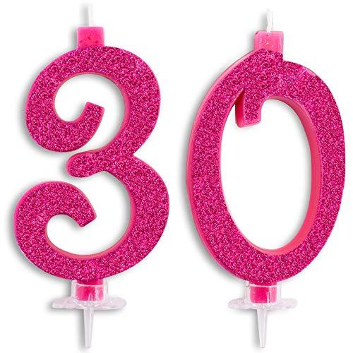 Candeline Maxi 30 Anni per Torta Festa Compleanno 30 Anni | Decorazioni Candele Auguri Anniversario Torta 30 | Festa a Tema | Altezza 13 CM Fucsia Glitter