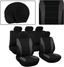OCPTY OCPTY Car Seat Cover, Universal Seat Cushion w/Headrest 100% Breathable Automotive Accessories Durable Washable Mesh Cloth for Most Cars(Grey On Black)