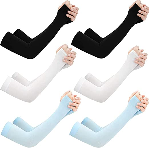 Asofcof 6 Pairs UV Sun Protection Cooling Arm Sleeves - UPF 50 Arm Cover for Men Women Warm Sleeves Running Cycling