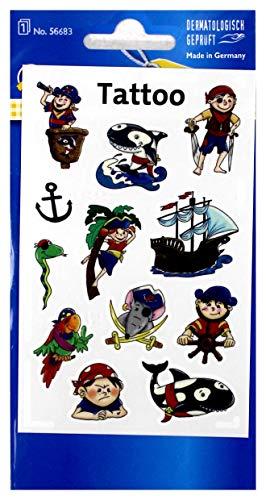 AVERY Zweckform 56683 Tattoo Kinder 12 Stück (Temporäre Tattoos Piraten, Kinder Tattoo wasserfest, Klebetattoos, Kindergeburtstag, Mitgebsel, Partyspiele Preise, Kinder zum Spielen, Tattoo Jungen)