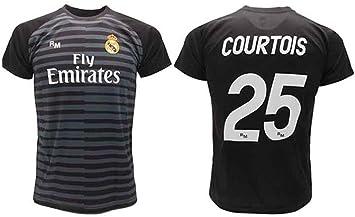Camiseta Courtois Real Madrid Portero Negro Thibaut 2018 2019 en blíster Regalo 25 Adulto niño