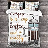 WINCAN 3pcs Decorative Duvet Cover Set with Zipper Closure French Press with Hot Aromatic Beverage...