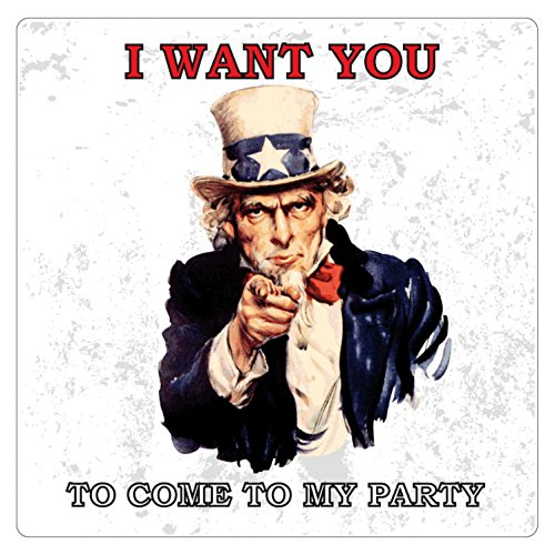 1art1 Oncle Sam Poster-Sticker Autocollant - I Want You to Come to My Party (9 x 9 cm)