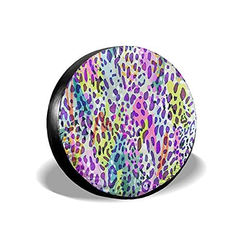 QQIAEJIA Cubierta de neumático de Repuesto Protectores de Rueda de Acuarela de Leopardo Colorido Funda de neumático de poliéster Resistente a la Intemperie para Todos los SUV Camper