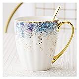 Tazzine da Caffè Tazza di caffè in ceramica in ceramica in porcellana di grande capacità tazza da caffè in ceramica con cucchiaio per cappuccino, latte o tè caldo, 13,5 oz, 4 colori Tazza da Colazione