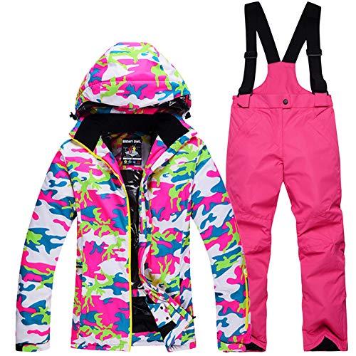 GTTBS-ski Ropa de Esquí para Niños Conjunto de Pantalones de Chaqueta de Esquí para Niñas Ropa Esquí Acolchada Impermeable Y Resistente Al Viento Ropa Al Aire Libre Traje Nieve