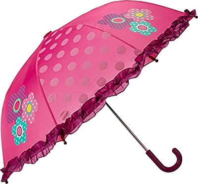 Girls Pink Umbrella with Flowers and Frills