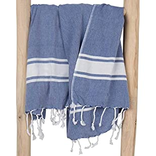 ZusenZomer Hammam Beach Towel xxl SOL 100x200 cm Blue - Turkish Cotton Towel Fouta - Exclusive Design Hammam Towels
