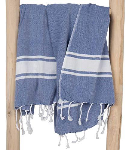 ZusenZomer Fouta XL SOL 100x200 Azúl - Toalla Hammam Toalla Playa Turca Grande & Ligera - 100% Algodón - Foutas Playa Diseño Exclusivo