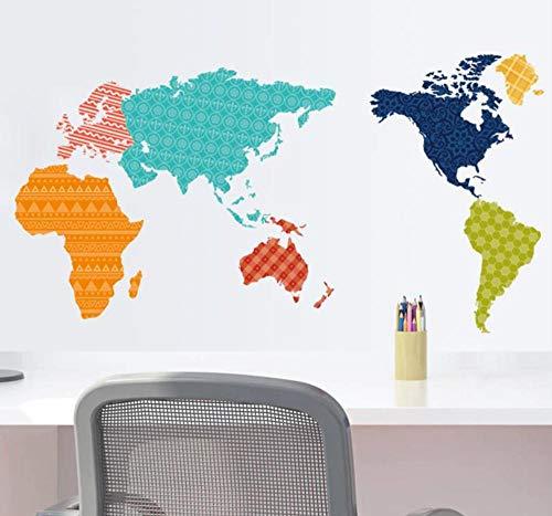 sufengshop Kleurrijke PVC Wereld Kaart Verwijderbare Vinyl Decal Art Mural Home Decor Muurstickers of World Trip Map Muursticker Verpakking Grootte 60×90cm