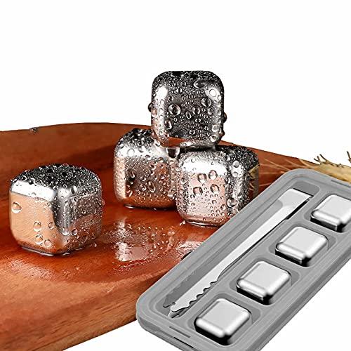 Ice-Cubes - 6 piedras de acero inoxidable para whisky de metal reutilizables para enfriar rápido whisky vino y ginebra con pinzas y caja de almacenamiento