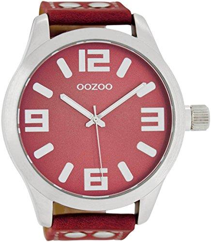 Oozoo Herrenuhr mit Lederband 51 MM Rot/Rot C1009