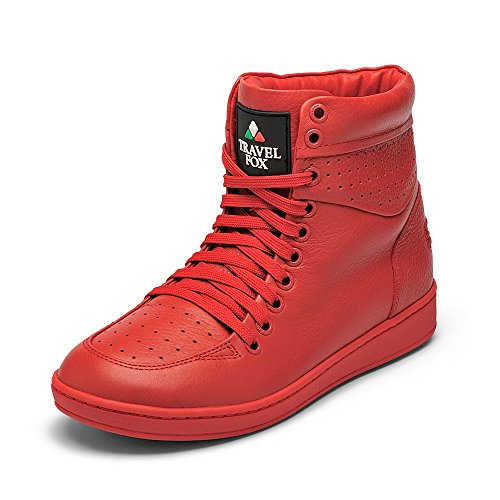 TRAVEL FOX Unisex 900 Red Nappa Leather Round Toe Lace-Up High-Tops M7/W9.5 US