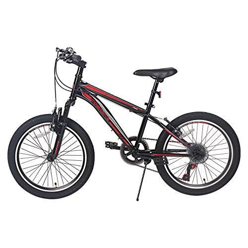 LPP Kids Bike 20 Inch 6 Speed Mountain Bike Iron Frame Children Bicycle for Boys Girls 6-10 Years (Black, 6 Speed)