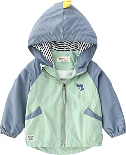 Xifamniy Infant Unisex Baby Long Sleeve Coat Cartoon Dinosaur Print Cotton Babies Jacket LightGreen