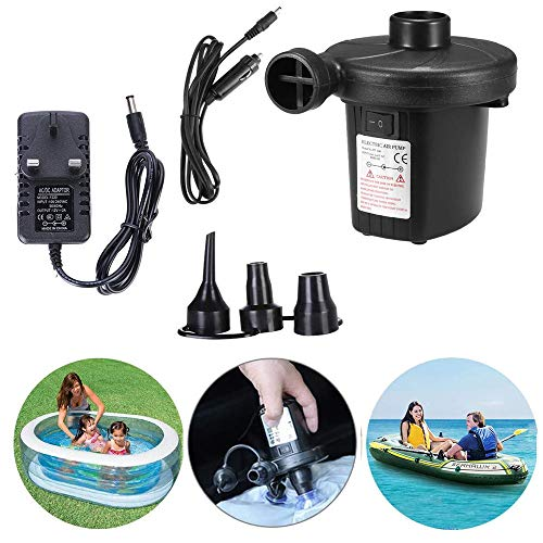 Electric Air Pump, Electric Pump for Inflatables Paddling Pool Pump with 3 Nozzle Adapters, Universal Valves Inflates and Deflates for Blow up Bed Air Pump for Camping Sports, Kids Paddling Pools (UK)