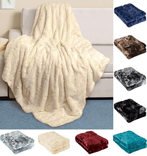 Everlasting - Coperta in finta pelliccia di lusso, morbida, setosa e leggera per divano, piumino e letto, decorazione per la casa, dimensioni complete per adulti e ragazzi, uomini e donne