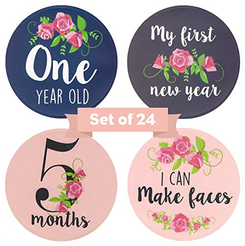 24 Pack Baby Girl Monthly Milestone Stickers Floral, 12 Months & 12 Baby Belly Achievement Stickers for First Year Scrapbook Memory Registry, Best Baby Shower Gift Set